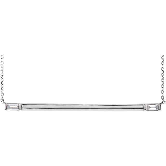 14K White 1/4 CTW Diamond Bar 18