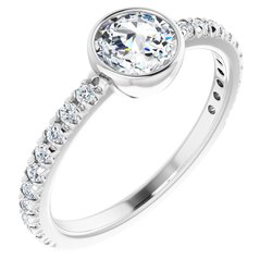 124126 / Engagement Ring / Neosadený / Sterling Silver / round / 5.7 Mm / Polished / French-Set Rose-Cut Engagement Ring Mounting