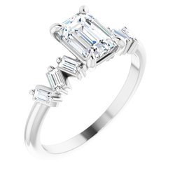 124601 / Ring / Unset / Emerald / 7 X 5 Mm / Sterling Silver / Polished / Claw-Prong Engagement Ring Mounting