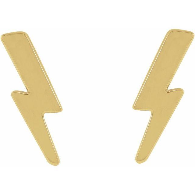14K Yellow Tiny Lightning Bolt Earrings