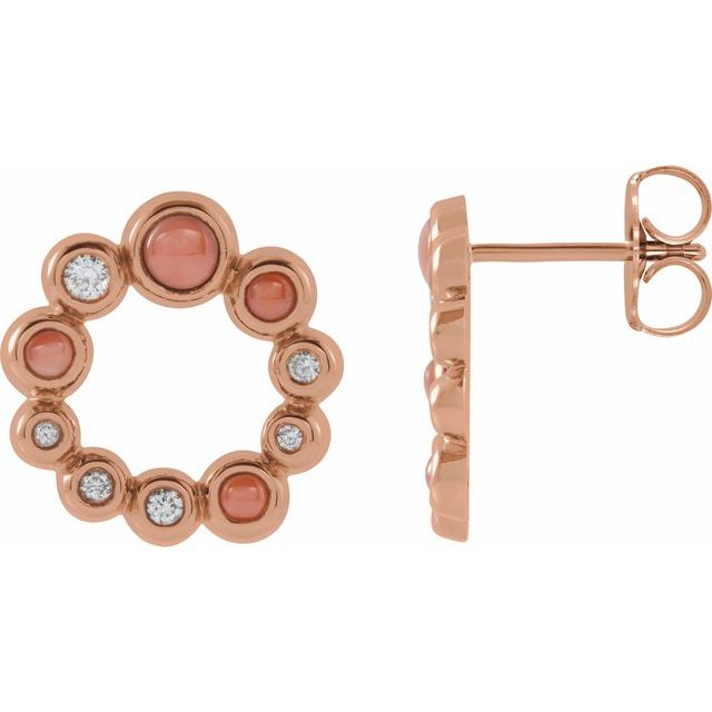 14K Rose Pink Coral & 1/8 CTW Diamond Earrings