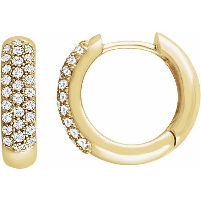 14K Yellow 1/2 CTW Diamond Pavé Hoop Earrings