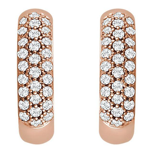 14K Rose 1/3 CTW Diamond Pavé Hoop Earrings