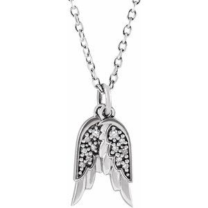 "Sterling Silver .03 CTW Diamond Angel Wings 16-18"" Necklace"