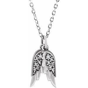 "14K White .03 CTW Diamond Angel Wings 16-18"" Necklace"