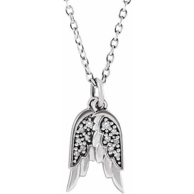 14K White .03 CTW Diamond Angel Wings 16-18