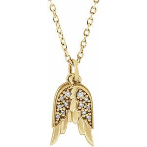 "14K Yellow .03 CTW Diamond Angel Wings 16-18"" Necklace"