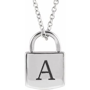 """Sterling Silver 12.02x8 mm Engravable Lock 16-18"""" Necklace"""