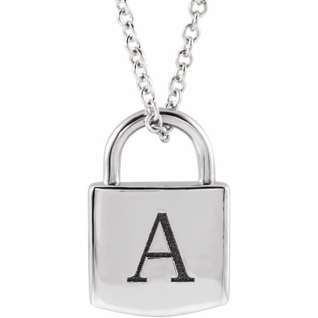 Sterling Silver 12.02x8 mm Engravable Lock 16-18