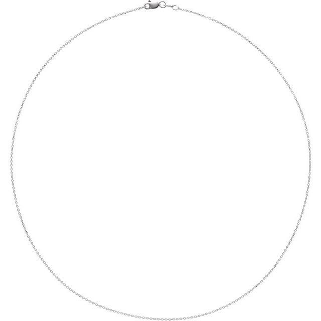 14K White 1 mm Diamond-Cut Cable 18