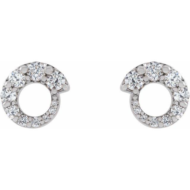 14K White 1/2 CTW Diamond Graduated Circle Earrings