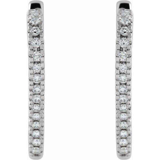 14K White 5/8 CTW Diamond Heart Hoop Earrings