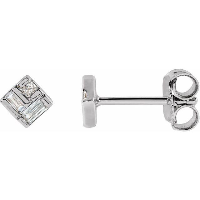 14K White 1/6 CTW Diamond Geometric Earrings