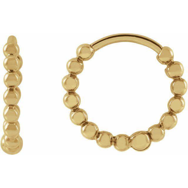 14K Yellow 11 mm Beaded Huggie Earrings