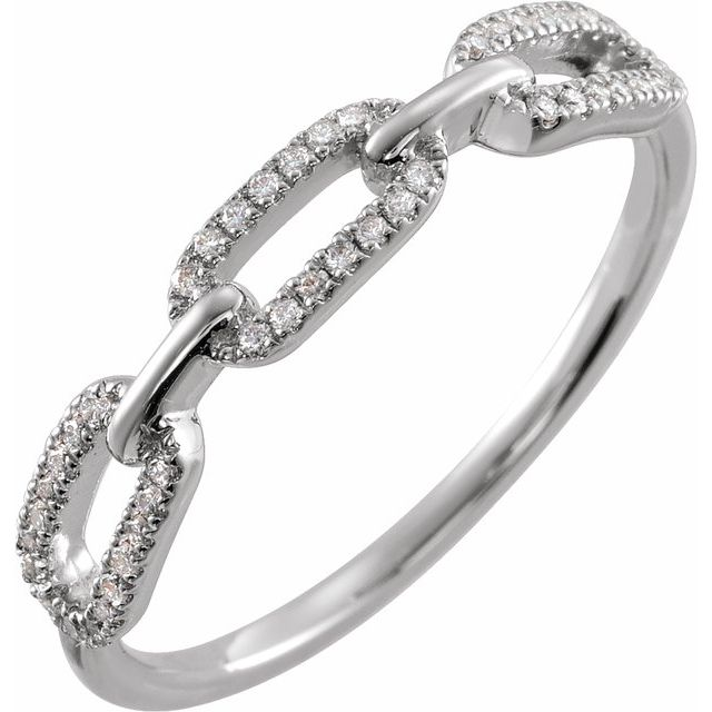 Sterling Silver 1/6 CTW Diamond Chain Link Ring