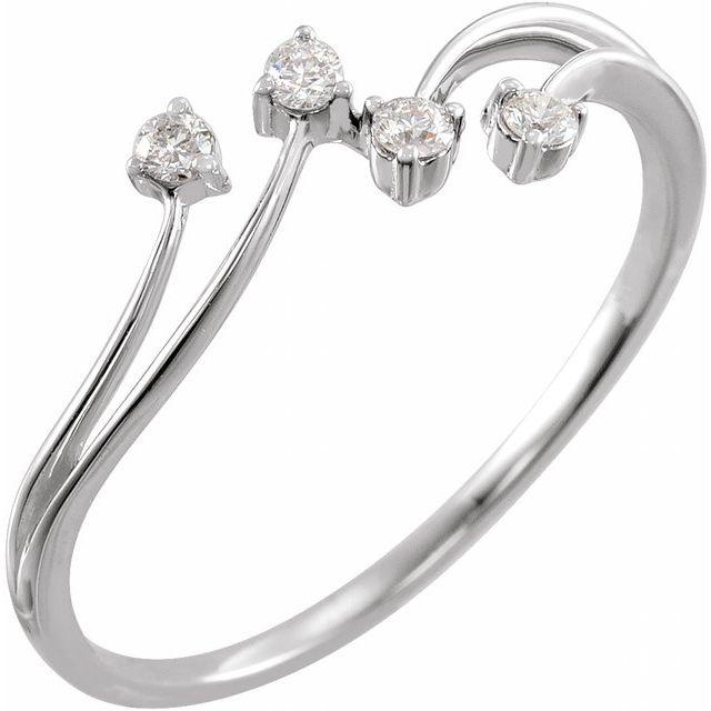 14K White 1/10 CTW Diamond Bypass Ring