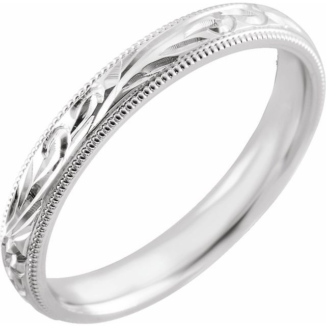 14K White 3 mm Comfort-Fit Band Size 5.5