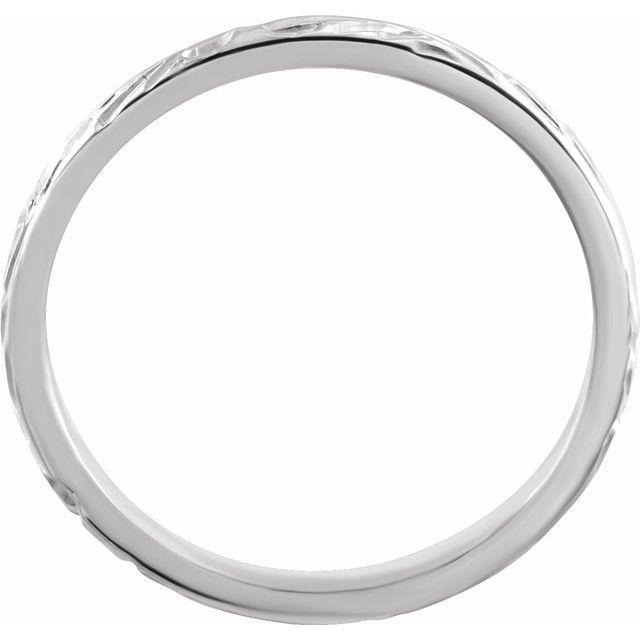 14K White 2 mm Design-Engraved Band Size 6