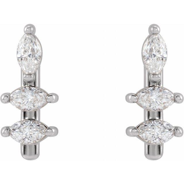 14K White 1/5 CTW Diamond Bar Earrings