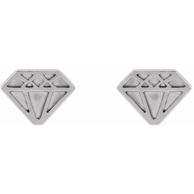 14K White 8.7x6.5 mm Tiny Diamond Earrings