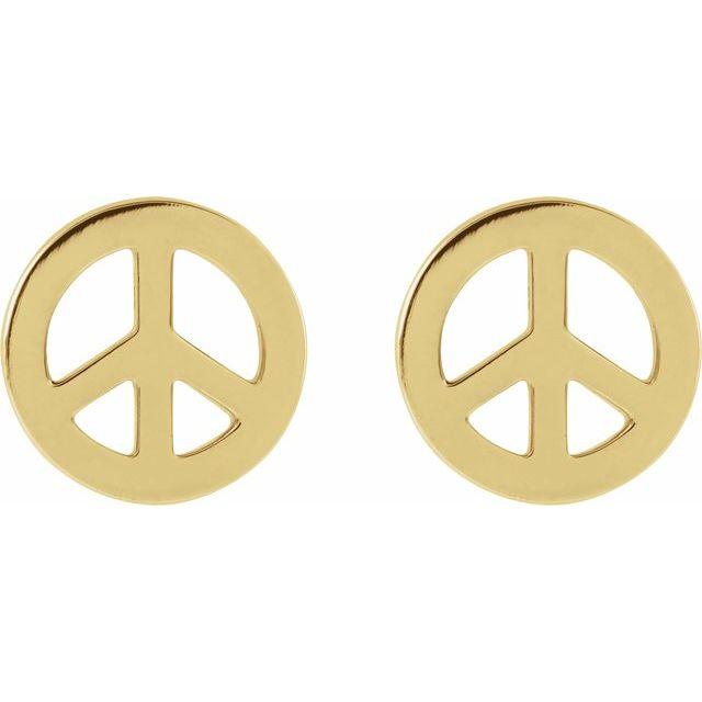 14K Yellow Tiny Peace Earrings