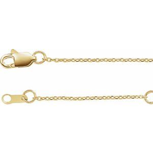"14K Yellow 1 mm Adjustable Diamond-Cut Cable Chain 6 1/2-7 1/2"" Bracelet"