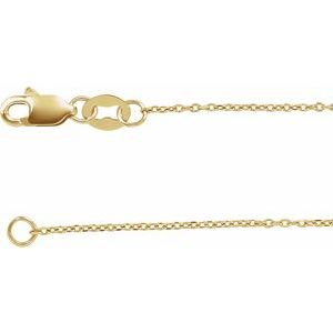 "14K Yellow 1 mm Diamond-Cut Cable 24"" Chain"
