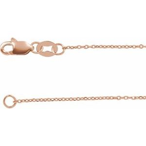 "14K Rose 1 mm Diamond-Cut Cable 20"" Chain"