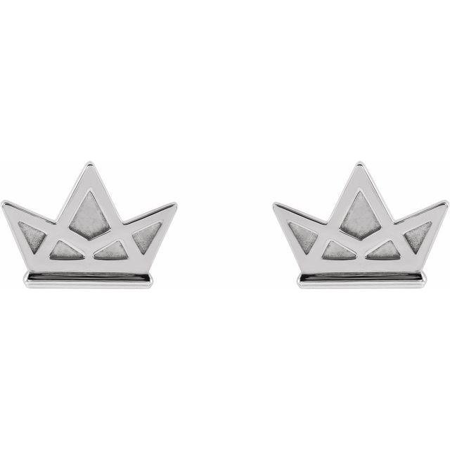 14K White Tiny Crown Earrings