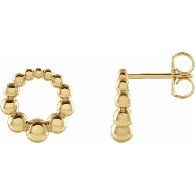 14K Yellow Graduated Beaded Circle Earrings