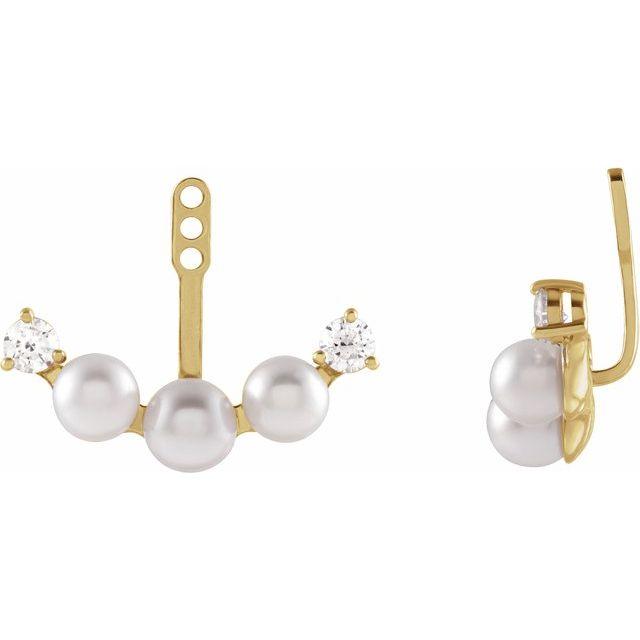 14K Yellow Akoya Pearl & 1/4 CTW Diamond Earring Jackets