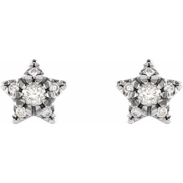 14K White 1/10 CTW Diamond Star Earrings
