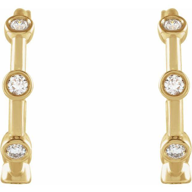 14K Yellow 1/3 CTW Diamond Bezel-Set Hoop Earrings