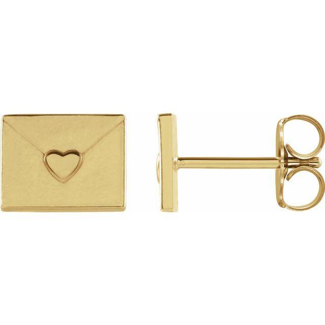 14K Yellow Heart Envelope Earrings