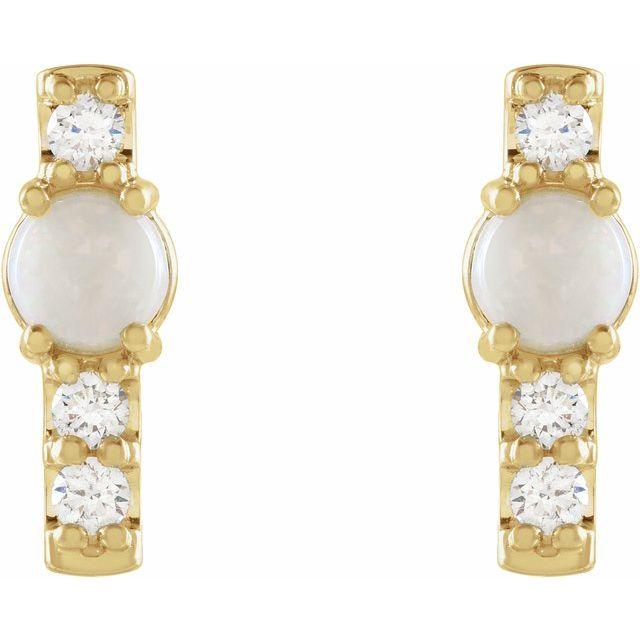 14K Yellow Ethiopian Opal & 1/5 CTW Diamond Bar Earrings