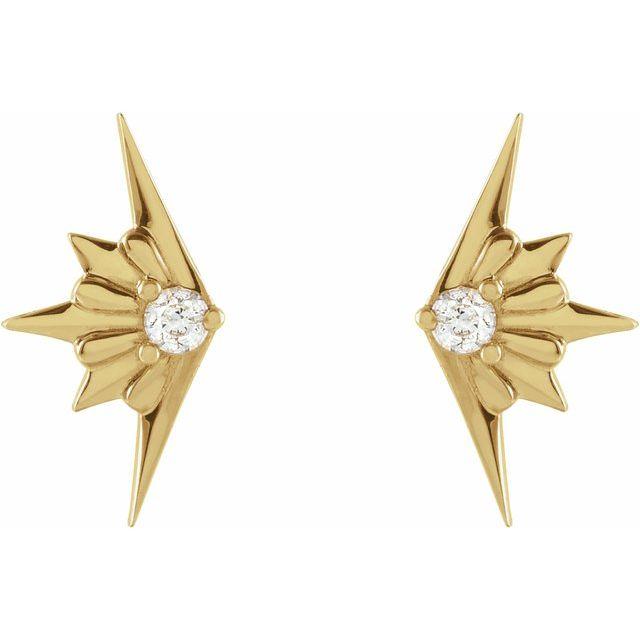 14K Yellow .03 CTW Diamond Starburst Earrings