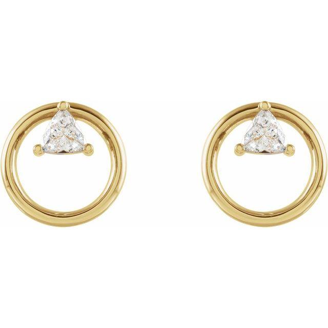 14K Yellow 1/4 CTW Diamond Geometric Earrings