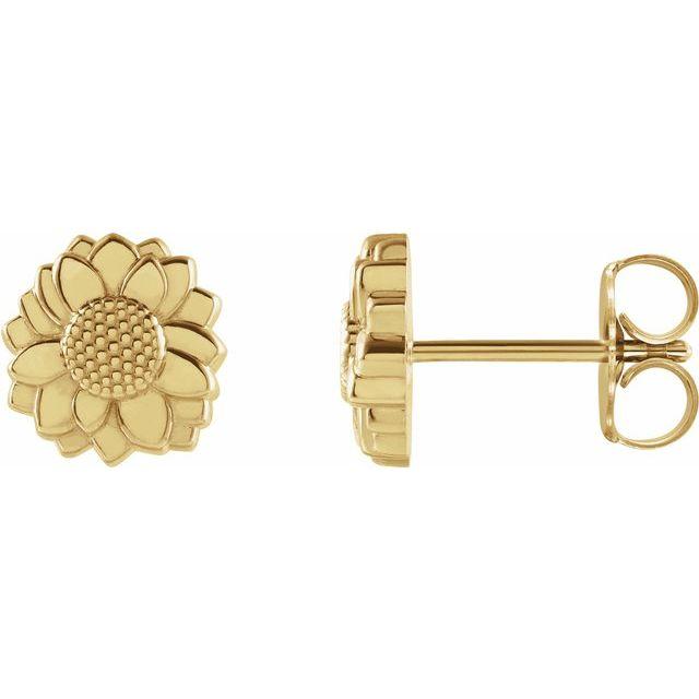 14K Yellow Tiny Sunflower Earrings