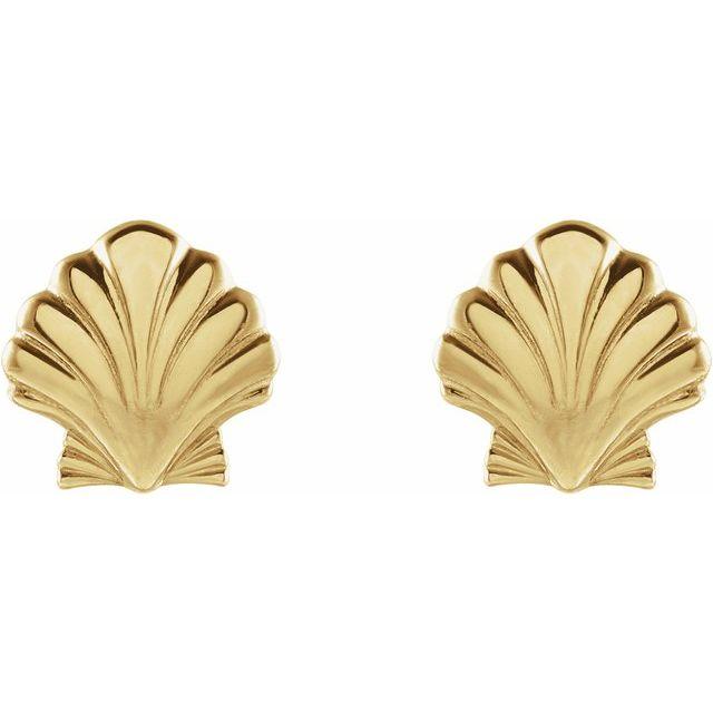 14K Yellow Tiny Shell Earrings