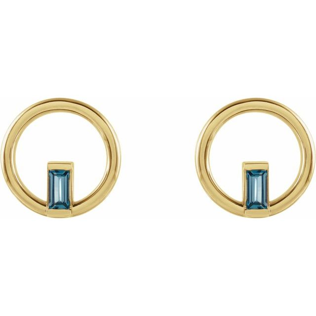 14K Yellow London Blue Topaz Baguette Circle Earrings