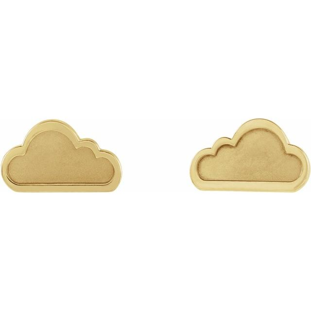 14K Yellow Tiny Cloud Earrings