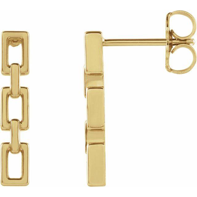 14K Yellow Chain Link Earrings