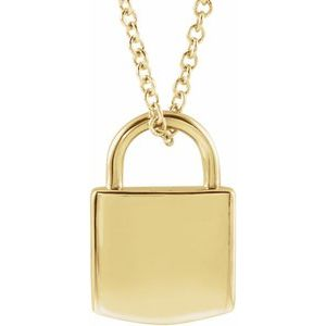"""14K Yellow 12.02x8 mm Engravable Lock 16-18"""" Necklace"""