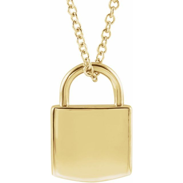 14K Yellow 12.02x8 mm Engravable Lock 16-18