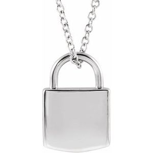 "14K White 12.02x8 mm Engravable Lock 16-18"" Necklace"