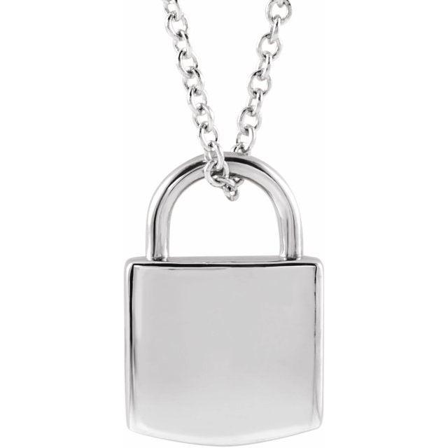 14K White 12.02x8 mm Engravable Lock 16-18