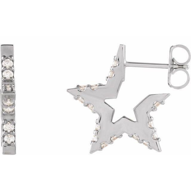 14K White 3/8 CTW Diamond Star Hoop Earrings