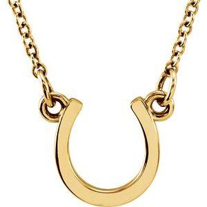 """14K Yellow Tiny Posh® Horseshoe 16-18"""" Necklace"""