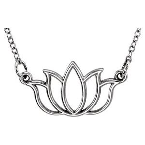 "14K White Tiny Posh® Lotus 16-18"" Necklace"