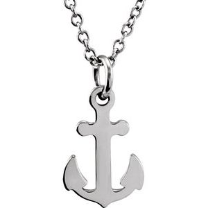 """Sterling Silver Tiny Posh® Petite Anchor 16-18"""" Necklace"""